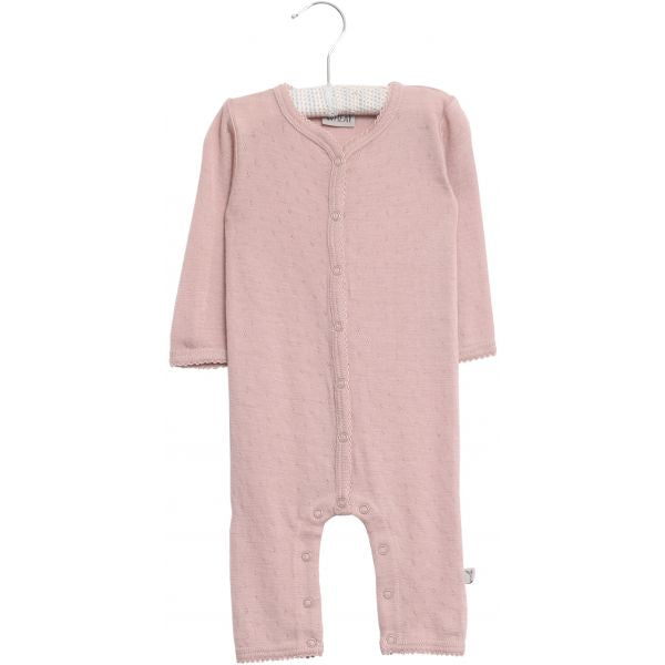 Wheat Plain Wool Jumpsuit Frill - Shadow Rose