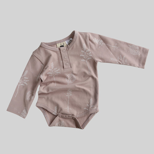 Buck & Baa Shadow Pink Henley Bodysuit