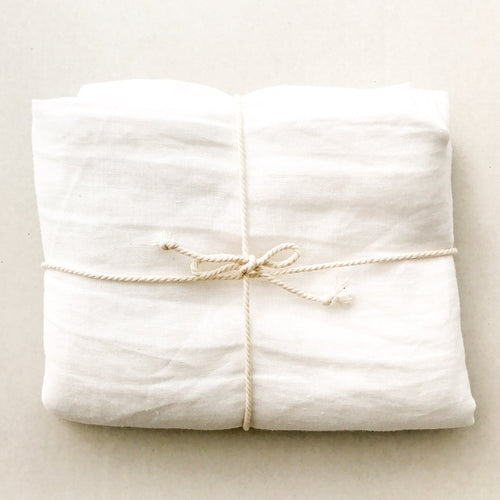 Dove & Dovelet Pure Linen Cot Sheet & Pillowcase - White