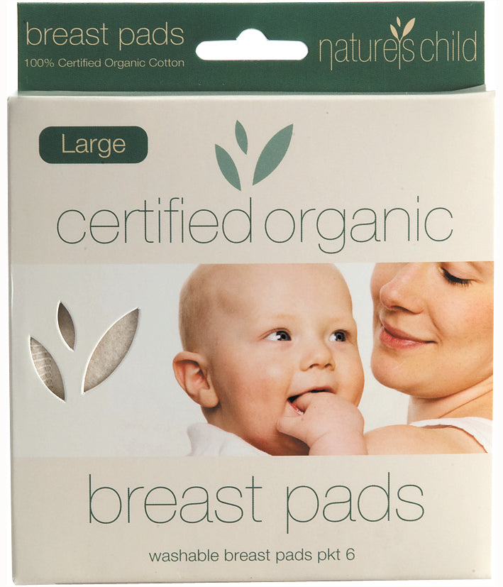 Nature's Child Organic Cotton Washable Breast Pads Pkt 6 - Large