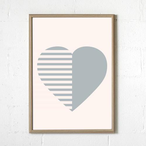 Sprout and Sparrow Stripey Heart Blush Print