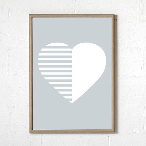 Sprout and Sparrow Stripey Heart Grey Print