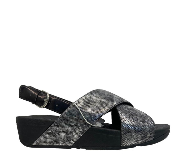 FITFLOP LULU CROSS SLIDE BLACK SHIMMER - Collectiveoutlet