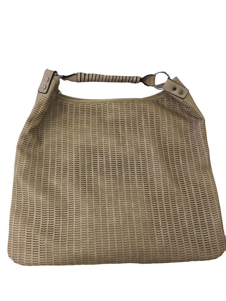Beige Patterned Tote Bag - Collectiveoutlet