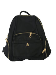 Mini Black Backpack Gold Zips - Collectiveoutlet