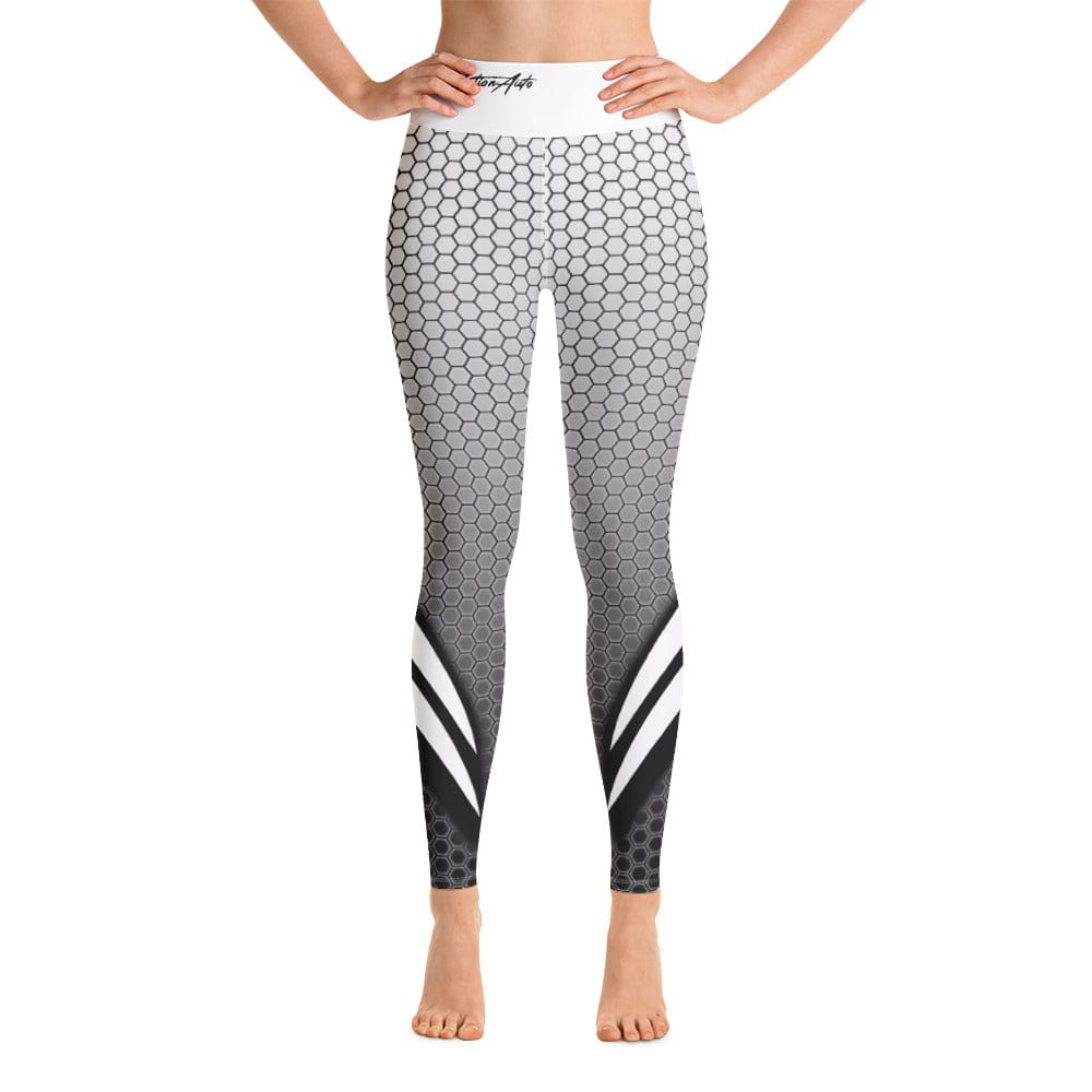Yoga Leggings - White Waistband