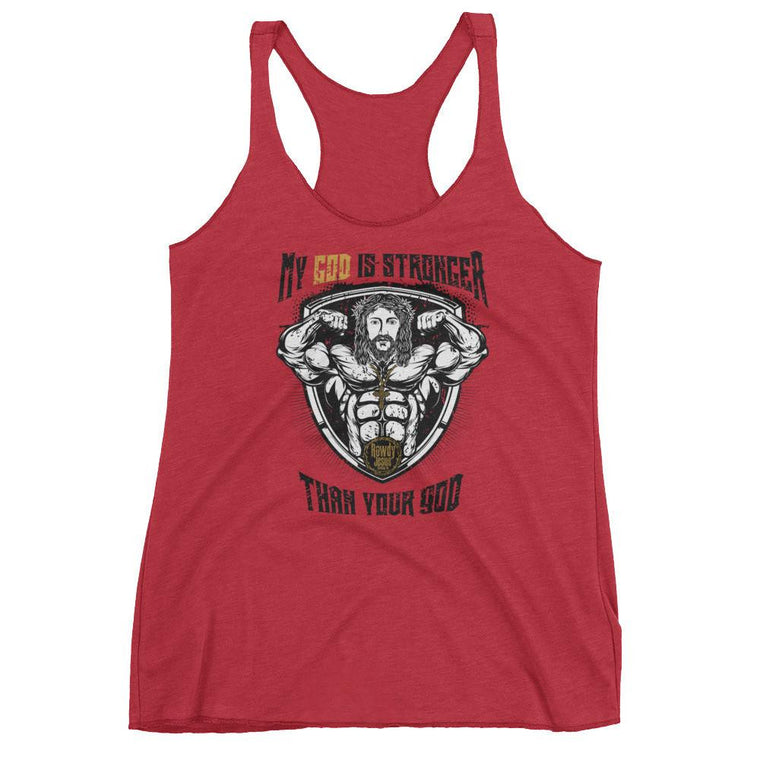 Women's Workout Racerback Tank - My God Is Stronger