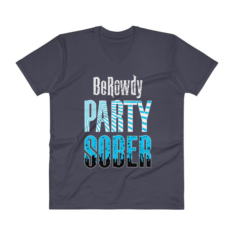 Men's V-Neck T-Shirt - Teal Party Sober