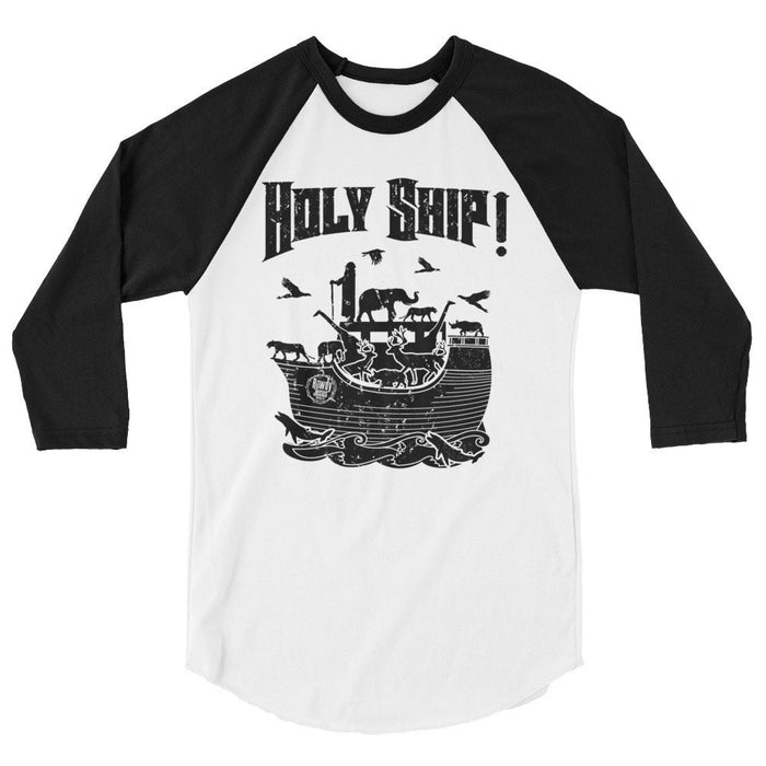 Men's 3/4 Sleeve Raglan Shirt - Black Holy Ship!