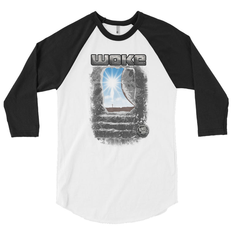 Men's 3/4 Sleeve Raglan Shirt - Woke