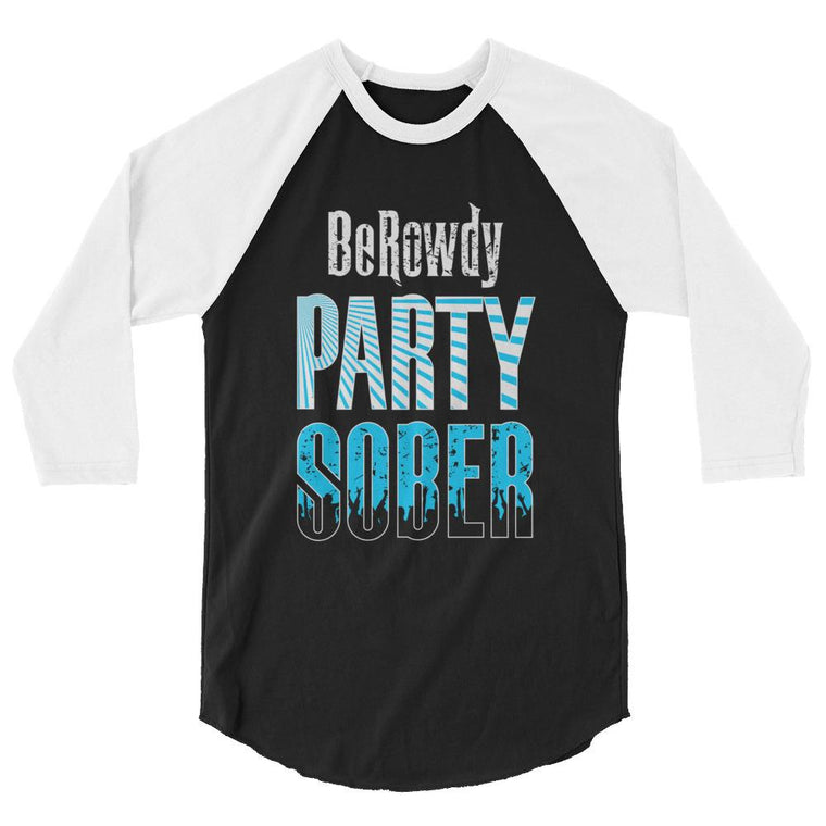 Men's 3/4 Sleeve Raglan Shirt - Teal Party Sober