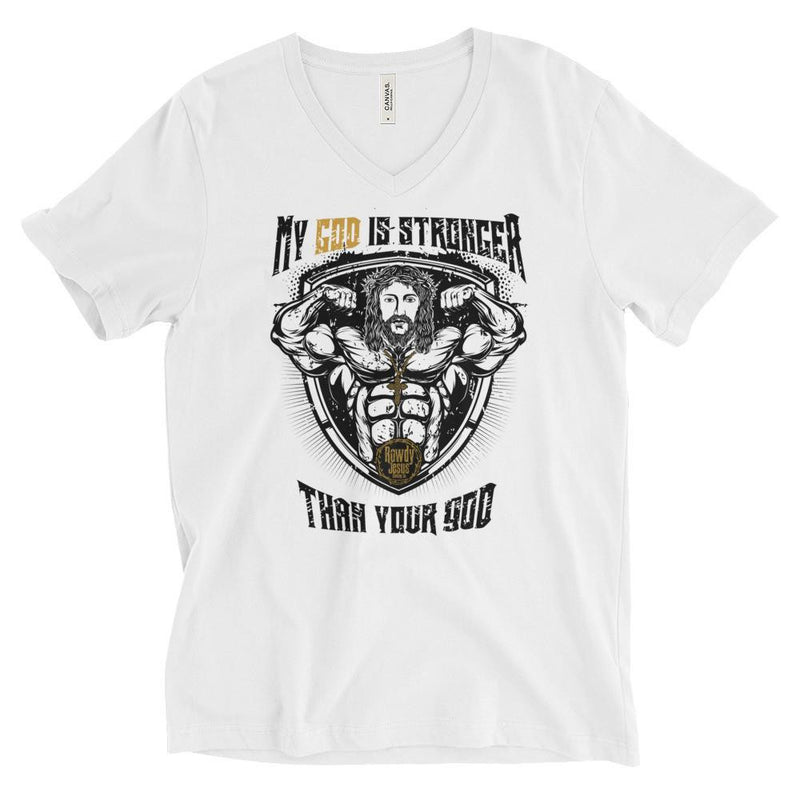Men's V-Neck T-Shirt - My God Is Stronger