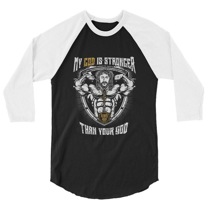 Men's 3/4 Sleeve Raglan Shirt - My God Is Stronger