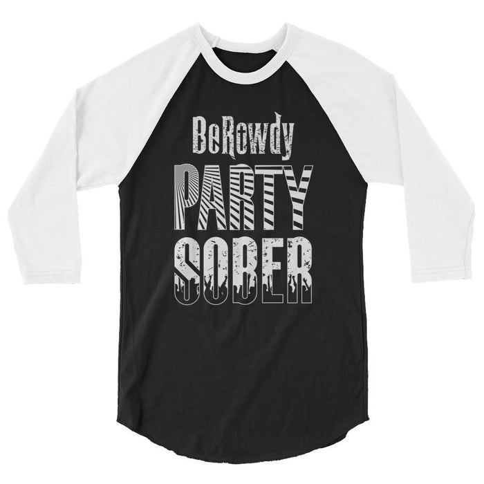Men's 3/4 Sleeve Raglan Shirt - White Party Sober