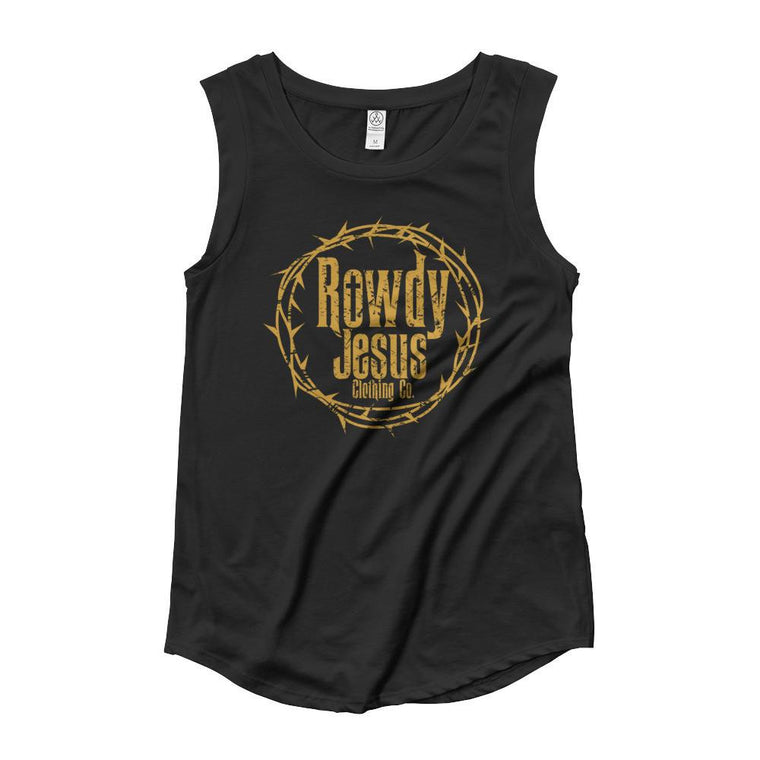 Women's Cap Sleeve Tank - Gold Logo