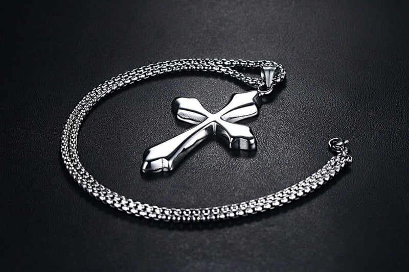 Elegant Silver Cross w/ Chain Necklace