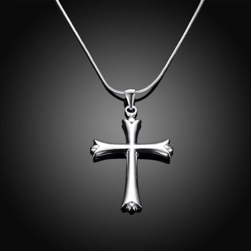Sleek Gothic Cross w/ Silver Necklace