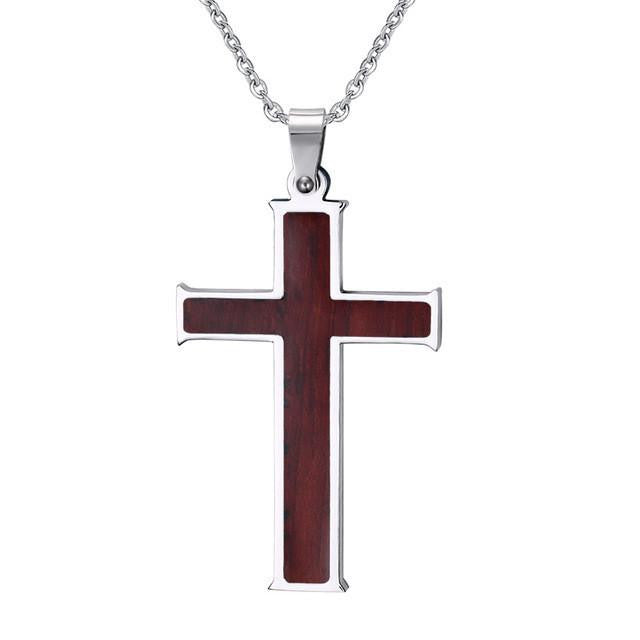 Stylish Wood Inlay Cross w/ Link Chain