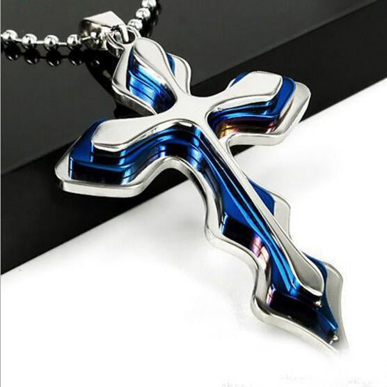 Sleek Dual-Toned Blue & Silver Cross w/ Beaded Chain