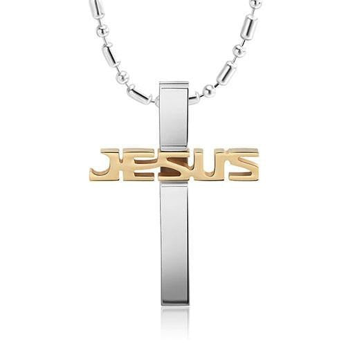 "Modern ""Jesus"" Cross w/ Beaded Chain (3 Color Styles)"