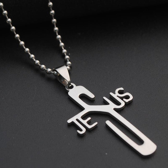 Unique Jesus Word Cross w/ Beaded Chain