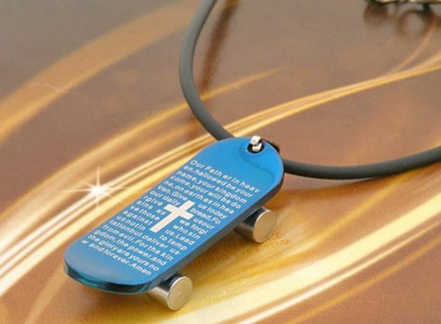 Cool Skateboard w/ Lord's Prayer Pendant w/ Black Rope