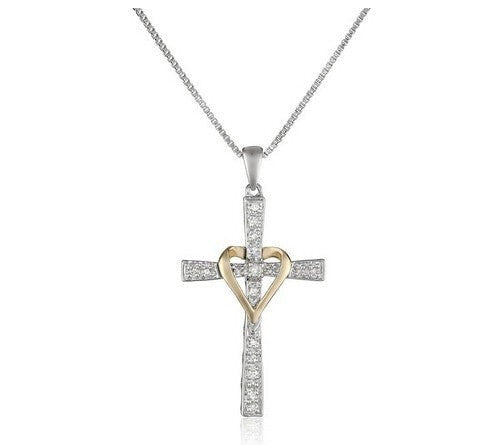 Charming Heart-Hugging Cross w/ Chain Necklace
