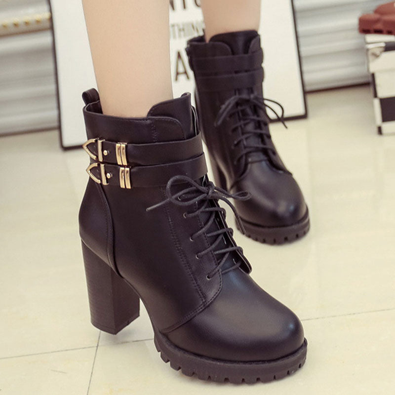 c924a54ca627 Round Toe Lace Up Zipper Platform Chunky Heel Ankle Boots – catcas