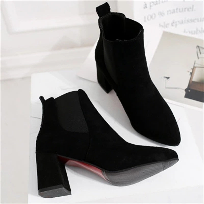 ac0d3b1624d Plus Size Pointed Toe Slip On Chunky Heels Ankle Boots