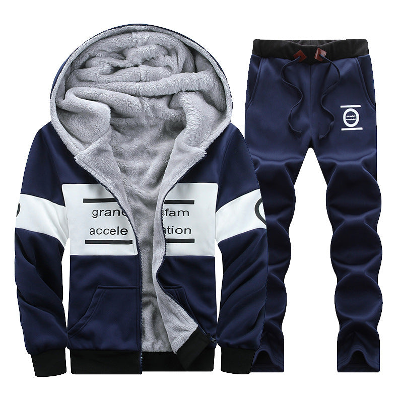 4f96403342863 Hooded Regular Vintage Alphabet Men's Sports Suit