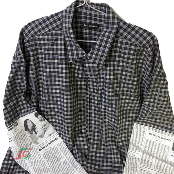 Áo sơmi Baleciaga. Happy News checked shirt