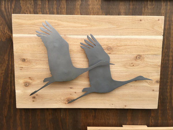 Flying Cranes (Steel Finish on Wood)