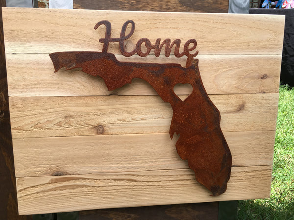 Hometown Love - Gainesville, FL (Rusted Finish on Wood)