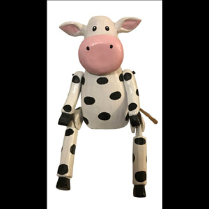 Wooden Cow Dangling Legs Large