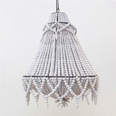 Beaded Fringe Chandelier White