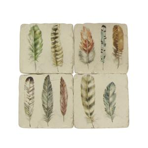 Set 4 Feather Resin Coasters