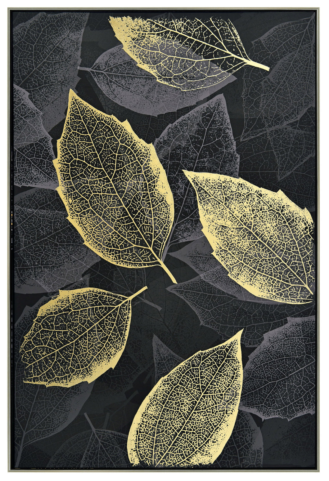 Leafy Shimmer Framed Canvas Print