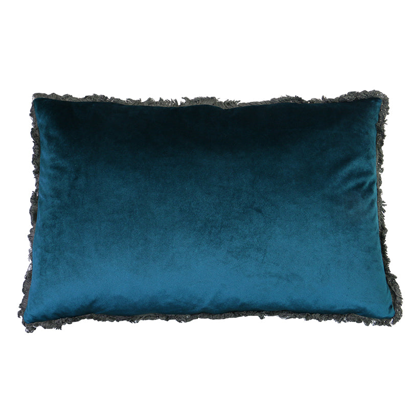 Peacock Velvet Fringed Cushion 40 x 60 cm