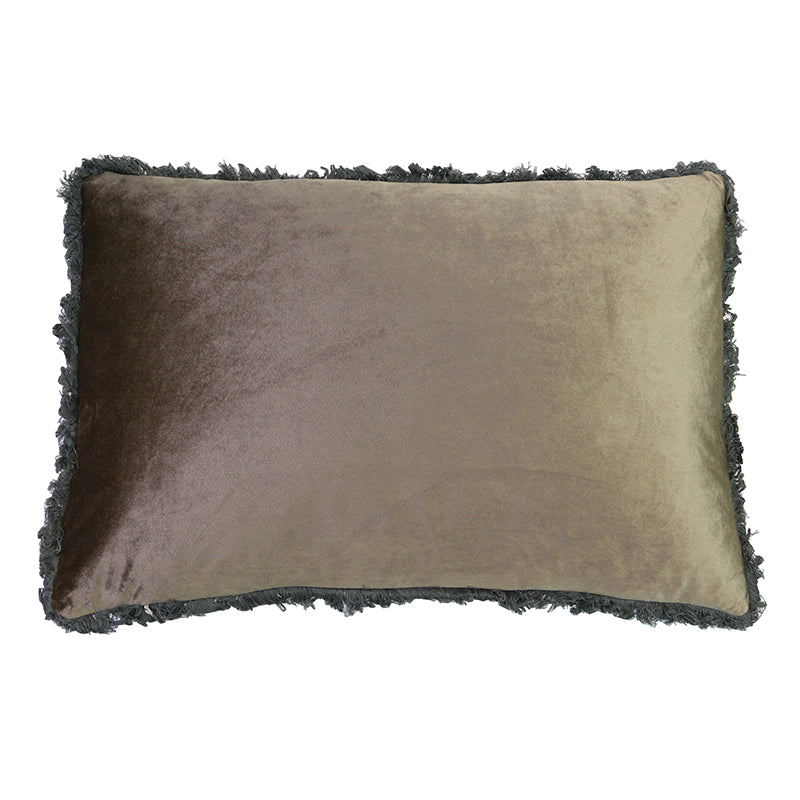Taupe Fringed Velvet Cushion 40 x 60 cm