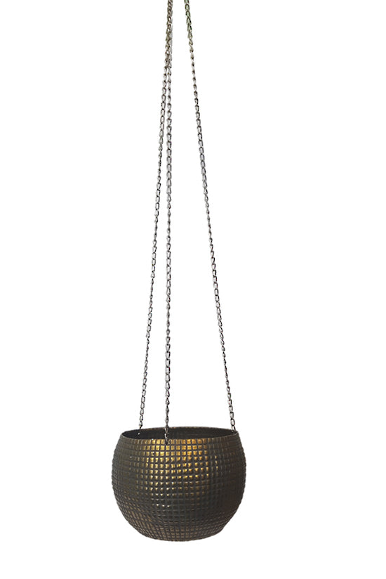 Hanging Metal Brass Planter Large
