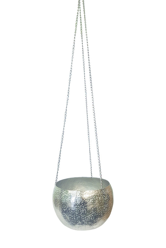 Silver Hanging Planter Large