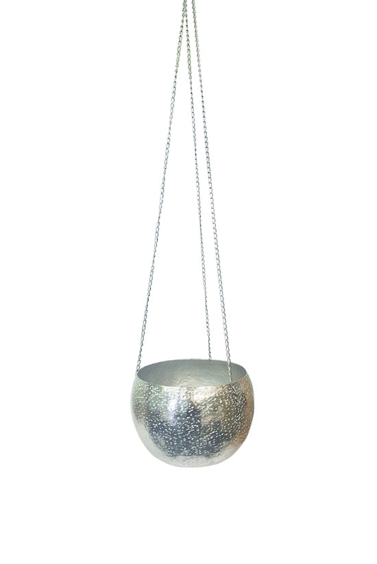 Silver Metal Hanging Planter Small