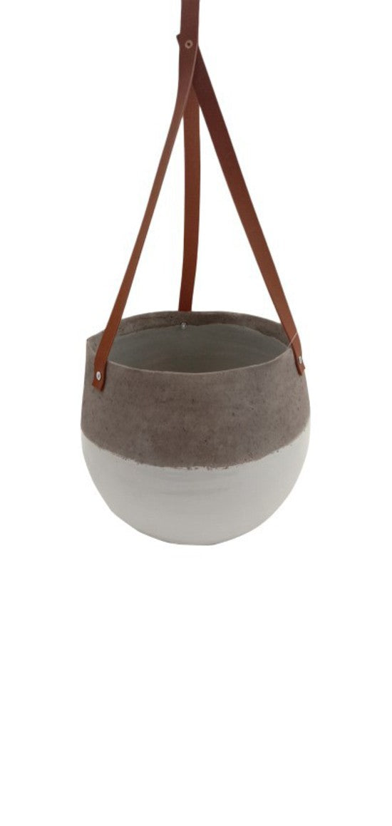 Grey and White Ceramic Hanging Pot Tall