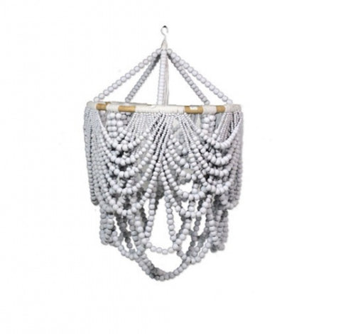 Beaded Labella Chandelier White