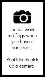Friends wave red flags...