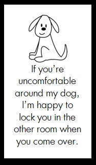 If you're uncomfortable with my dog...