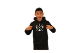"Cotton Hoodie BLACK  featuring the NEW  ""X"" Logo ADULT"