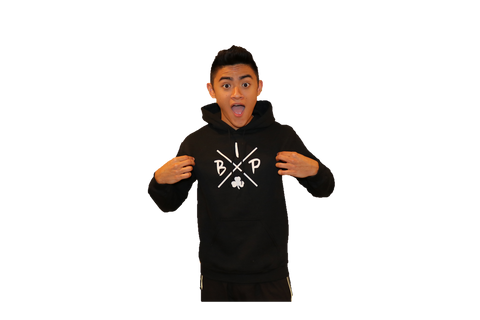 "Cotton Hoodie BLACK  featuring the NEW ""X"" Logo YOUTH"