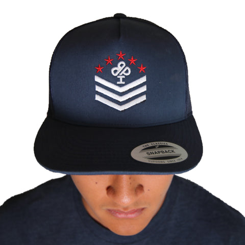 IBP Military Style Patriotic merch on quality navy trucker hat