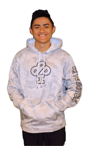 PREMIUM DRY FIT Hoodie  CAMO WHITE featuring the FROST Silver IBP logo